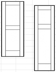 филёнчатые ставни с прямой верхней вставкой 375 х 787мм (ПАРА)